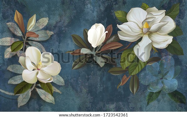 Wall mural, wallpaper, postcard, flowers on a dark background, magnolia, jasmine, leaves. Painted flowers.