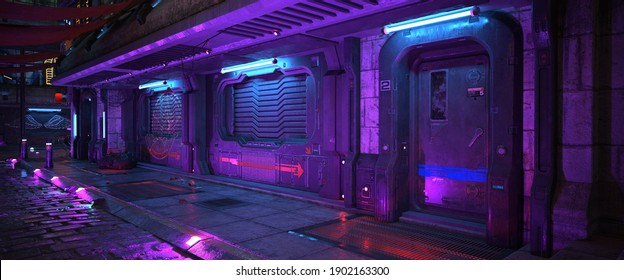 Wall of an old building with gates and blue purple neon lights on a street of futuristic city. 3D illustration. Beautiful night scene in a cyberpunk style. Night urban landscape.