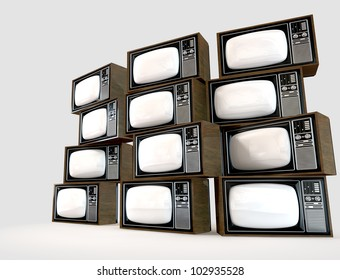 A wall of old vintage tube televisions with wood trim