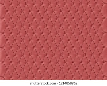 Wall panel red capitone on a white background 3d rendering