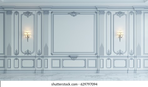 Wall panels in classical style with silvering and sconces. 3d rendering