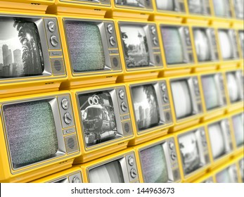 Wall from retro TV. Conceptual broadcasting. 3d