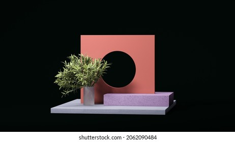 Wall of salmon color with round hole and pale violet square podium display on black background with small palm tree. Minimal design. Abstract realism. Copy space. Empty space. Ad. 3d rendering.