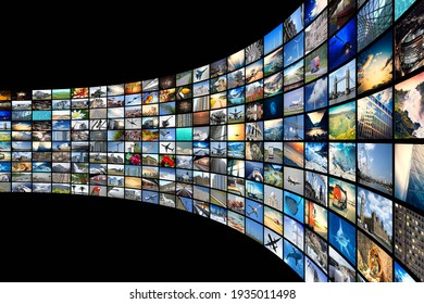 Wall of screens - streaming media, cable, Internet concept - 3D illustration