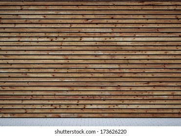 Wall with shabby wooden planks