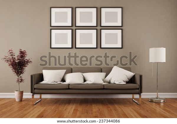 Wall Six Empty Picture Frames Living Stock Illustration