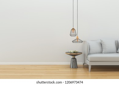 wall with Sofa and Tree wood lamp wooden table 3d render interior