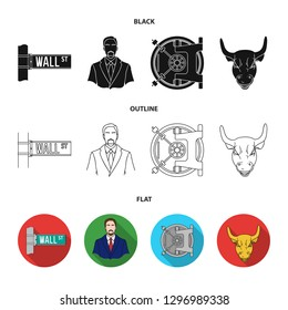 Wall Street, a businessman, a bank vault, a gold charging bull. Money and finance set collection icons in cartoon style bitmap symbol stock illustration web.