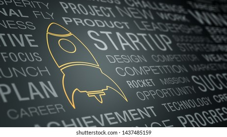 wall of text with keywords about new business concept, gold coloured rocket ship (3d render)