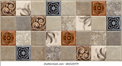 Wall Tiles Marble Pattern , Kitchen And Bathroom Tile ,lace Pattern Flower  Vintage Background ,