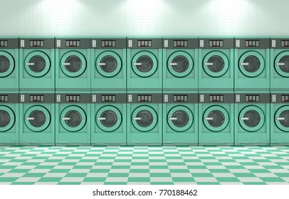 A wall of a well lit clean stack of turquoise industrial washing machines in a laundromat - 3D render
