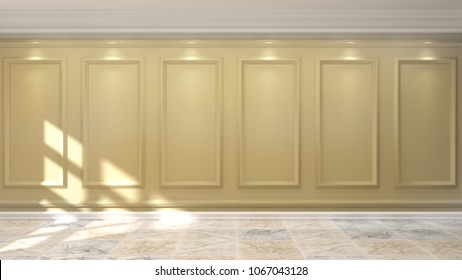 wall yellow gold luxurious,interior,empty living room without armchair,furniture 3d rendering home design