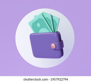 Wallet and banknote icon, Money saving concept. 3d render illustration