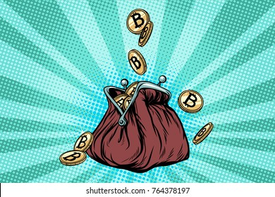 Wallet with bitcoin, crypto currency and electronic money. Pop art retro  illustration