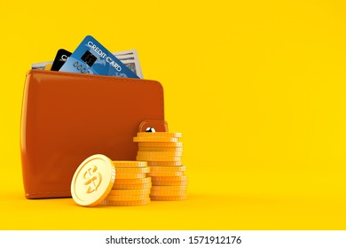 Wallet with coins isolated on orange background. 3d illustration