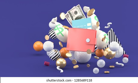 Wallet, credit card, and money amidst colorful balls on a purple background.-3d rendering.
