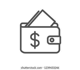 Wallet line icon. Affordability sign. Cash savings symbol. Quality flat web app element. Line design Wallet icon.