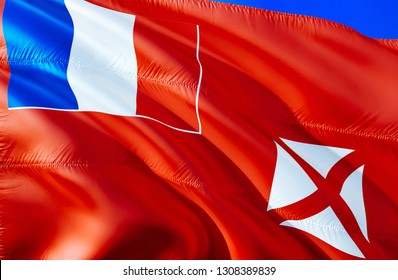 Wallis and Futuna flag. 3D Waving flag design. The national symbol of Wallis and Futuna, 3D rendering. National colors and National flag of Wallis and Futuna for a background
