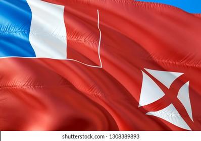 Wallis and Futuna flag. 3D Waving flag design. The national symbol of Wallis and Futuna, 3D rendering. The national symbol of Wallis and Futuna background wallpaper