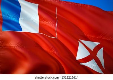 Wallis and Futuna flag. 3D Waving flag design. The national symbol of Wallis and Futuna, 3D rendering. Wallis and Futuna 3D Waving sign design. Waving sign background wallpaper