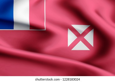 Wallis And Futuna modern and realistic closeup flag illustration. Perfect for background or texture purposes.