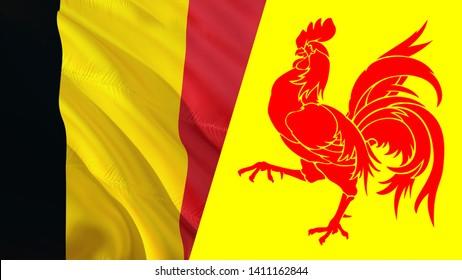 Wallonia and Belgium flags. Waving flag design,3D rendering. Wallonia Belgium flag picture, wallpaper image. Walloon Belgian and Brussels Namur represent Burgundian Netherlands community