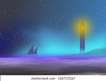 Wallpaper or background with sea landscape, with lighthouse, fog and Portuguese caravel in silhouette. Illustration. Digital art.