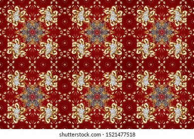 Wallpaper baroque, damask. Golden elements on brown and red colors. Seamless raster background. Stylish graphic pattern. Floral pattern.