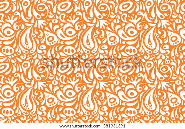 Wallpaper baroque, damask. Orange and white ornament. Seamless background. Floral seamless pattern.