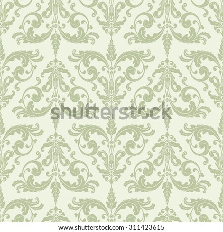 Wallpaper In Baroque Style Classic Ornament Damask PatternSeamless Background