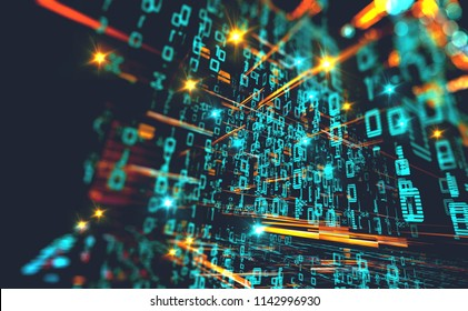 Wallpaper of binary code concept pattern and big data structure.Net and source code.Abstract background of technology, science and cloud computer.3d illustration