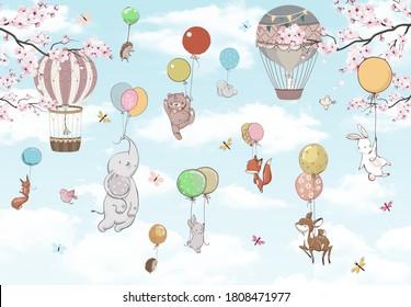 Wallpaper for children, animals in the sky on balloons
