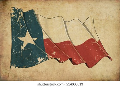 Wallpaper depicting an aged paper, textured background with a scratched illustration of the Texan flag
