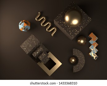 Wallpaper design with abstract shapes, brown and gold, 3d render / rendering