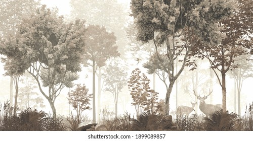 wallpaper forest mural nature animal