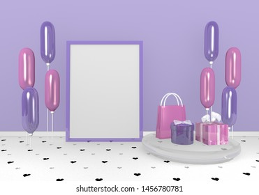 Wallpaper with gifts and balloons in purple and pink. 3d rendering