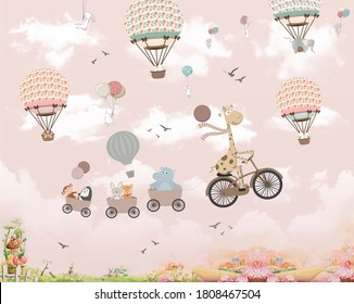 Wallpaper for kids, animals on baloon