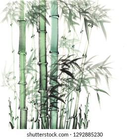 wallpaper of oriental Chinese or Asian Japanese green bamboo branches is hand drawn on creamy paper