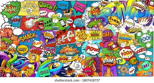 Wallpaper, photowallpaper, mural, card, postcard design in pin-up style for a children's or teenagers. A wall of bright, colorful drawn comics and graffiti.