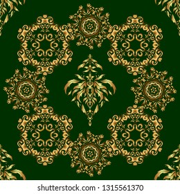 For wallpaper, presentation, design, textiles. Seamless image of the elements in gold color on green background.