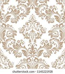 Wallpaper in the style of Baroque. A seamless background. White and beige floral ornament. Graphic pattern for fabric, wallpaper, packaging. Ornate Damask flower ornament