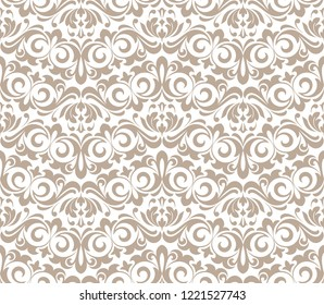 Wallpaper in the style of Baroque. Seamless background. White and beige floral ornament. Graphic pattern for fabric, wallpaper, packaging. Ornate Damask flower ornament