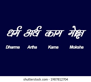An wallpaper texted ' Dharma , Artha, Kama, Moksha ' in English and Sanskrit