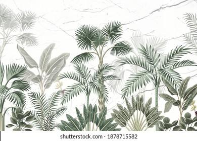 wallpaper of various tropical trees, banana, palm, palm
