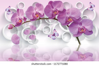 Wallpapers with orchids and waving butterflies on 3d background will visually expand the space in a small room, bring more light and become an accent in the interior.
