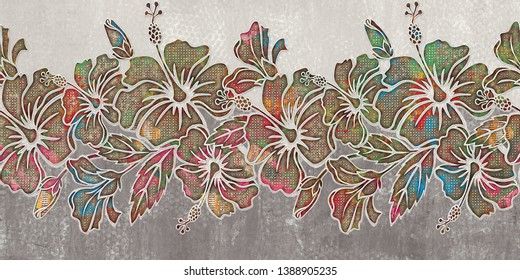 WallTile Design,colourfull seamless flower pattern with elements of plants on a marble background. Art Hibiscus flower bloom with Multicolored leaves image texture. Cute design for wallpaper, textile.