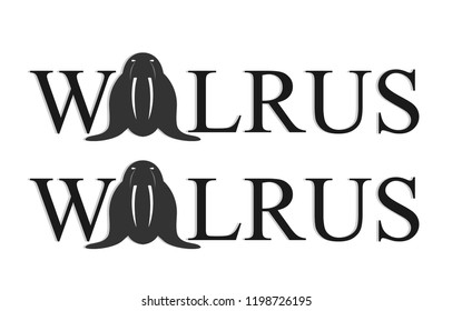 Walrus writing with one character using walrus