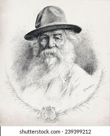 "Walt Whitman (1819-1892) American poet, author, and journalist in portrait on cover of ""The Illustrated American,"" April 19, 1890."