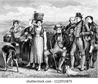 Walter Scott and his family, vintage engraved illustration. Magasin Pittoresque 1855.