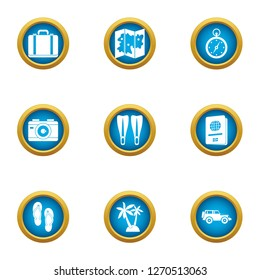 Wander icons set. Flat set of 9 wander icons for web isolated on white background